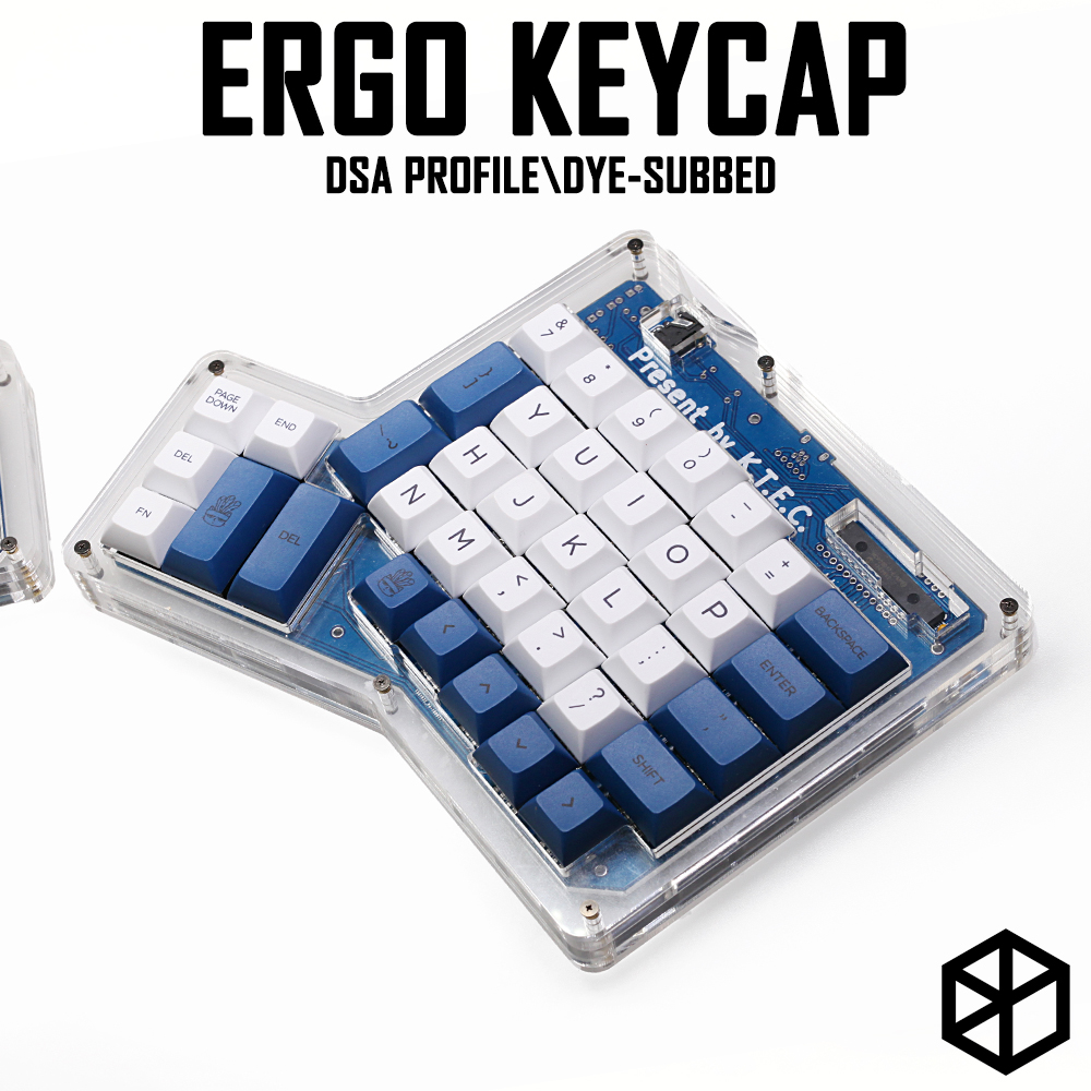 Dsa Ergodox Ergo Pbt Dye Subbed Keycaps Custom Mechanical Keyboards Infinity ErgoDox Ergonomic Keyboard Keycaps White Blue