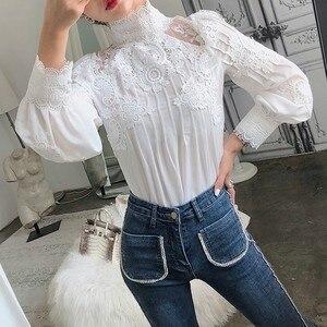 Image 5 - CHICEVER הקיץ מזדמן מוצק תחרה חלול את נשים חולצת צווארון עומד פאף שרוול Slim בתוספת גודל נשי עליון בגדי 2020 חדש