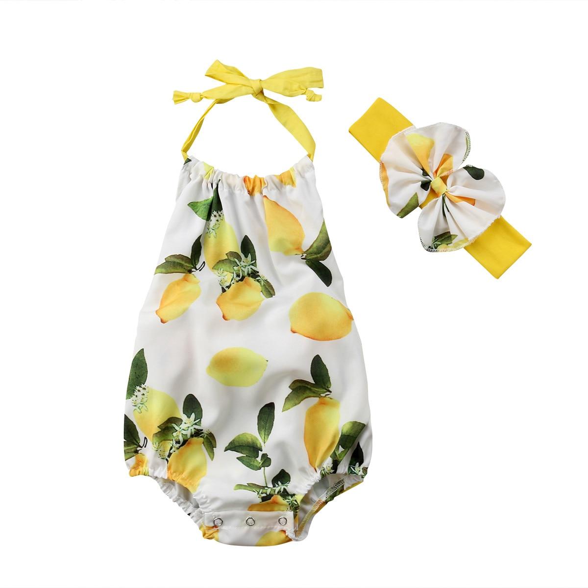 0-24 M Leuke Pasgeboren Baby Meisje Mouwloze Backless Strik Citroen Band Romper Jumpsuit Hoofdband 2 Stuks Outfits Zomer Kleding Een Onmisbare Soevereine Remedie Voor Thuis