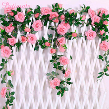 PATIMATE 2.4M/lot Silk Rose Flower With Ivy Vine Artificial Flowers for Home Wedding Decor Decorative Garland