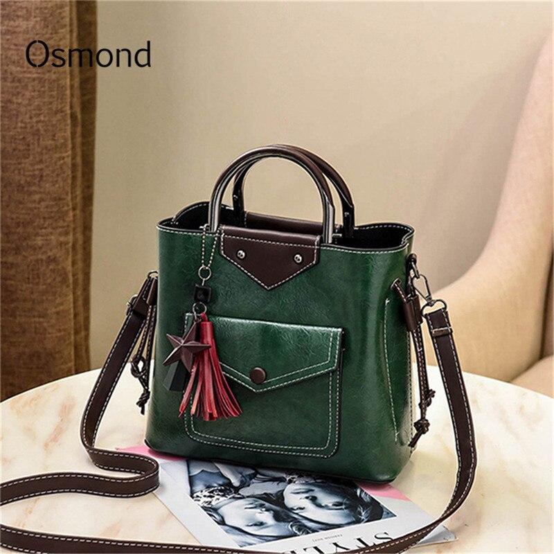 Osmond Green Hand Bags Totes PU Leather Women Handbag Boston Crossbody Bag Tassel Designer Casual Shoulder Bag Large Capacity