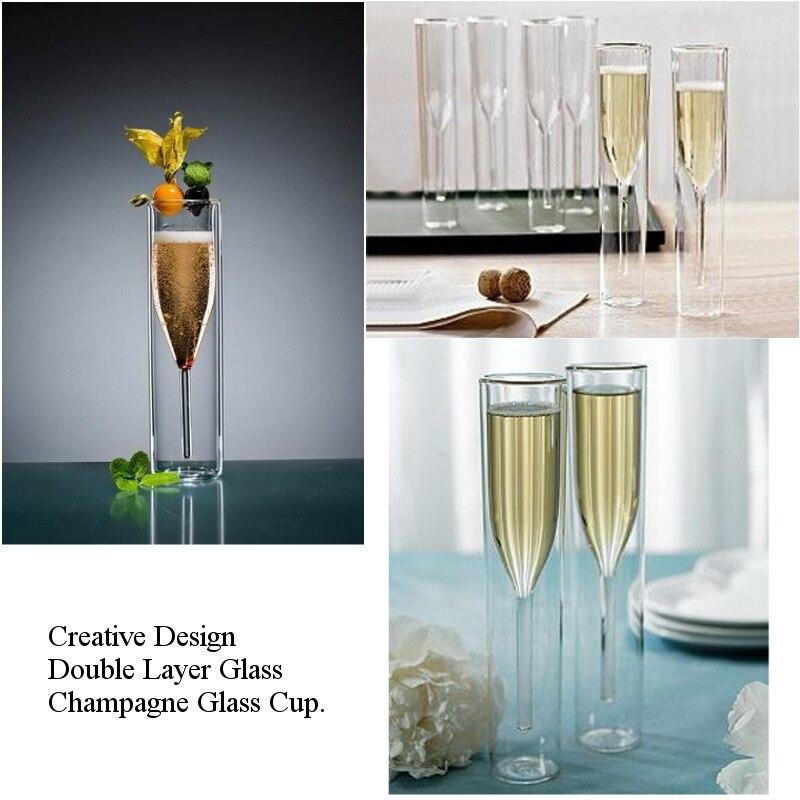 Double paroi verres Champagne flûtes gobelet bulle vin tulipe Cocktail mariage fête verre coupe grillage Bodum Thule Xicaras Copo