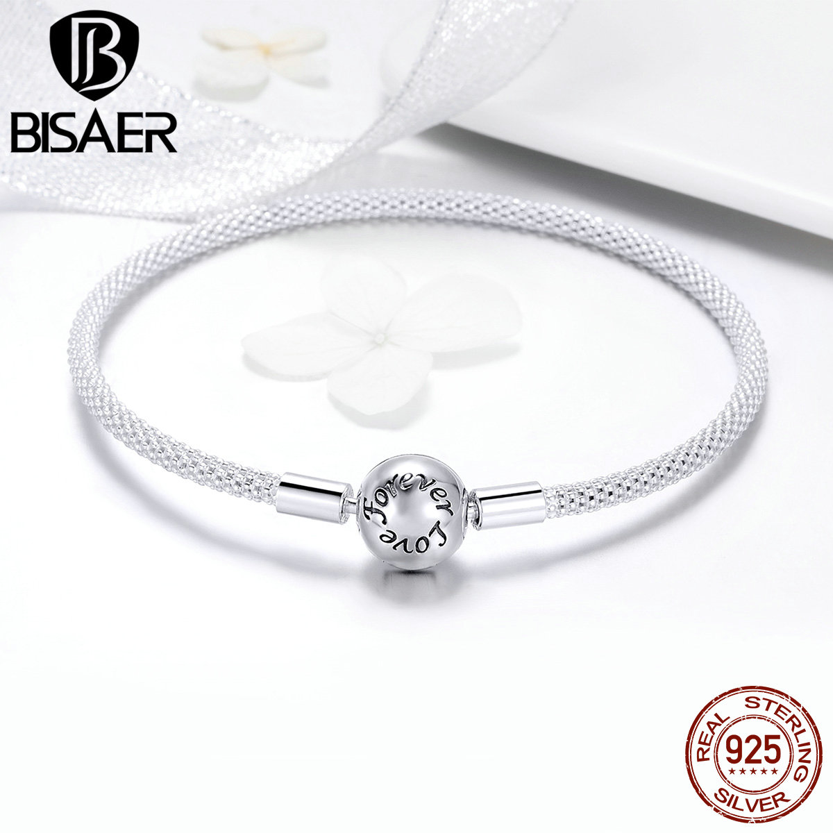 BISAER Silver Charm Bracelet for Women Jewelry Making 925 Sterling Silver Bracelet for Beads 925 Original Fine Jewelry GXB105 дозатор жидкого мыла grampus laguna gr 7812