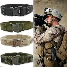 Tactical Military Canvas Belt Men Outdoor Army Camouflage Waistband with Plastic Buckle Training Equipment #1115