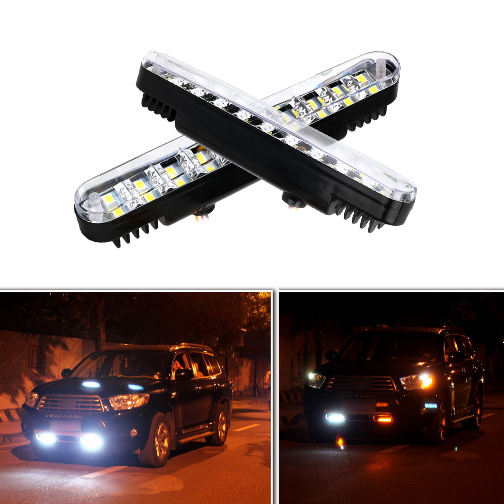 LEEPEE 2 Pieces DC 12V 30 SMD Amber Turn Signal <font><b>Light</b></font> White DRL Fog Lamp <font><b>Bulb</b></font> Parking Lamp Car <font><b>Daytime</b></font> <font><b>Running</b></font> <font><b>Lights</b></font> image