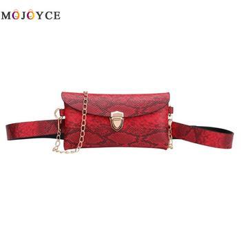 cf3fdd65cc78 Сумка на плечо с цепочкой, сумка для телефона, женская сумка из  искусственной кожи, поясная сумка, змеиная кожаная поясная сумка для женщин
