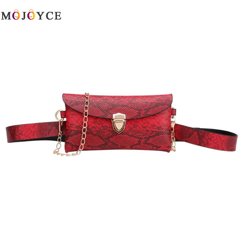 Chain Shoulder Waist Bag Phone Pouch Women PU Leather Fanny Packs Serpentine Leather Belt Bag For Ladies