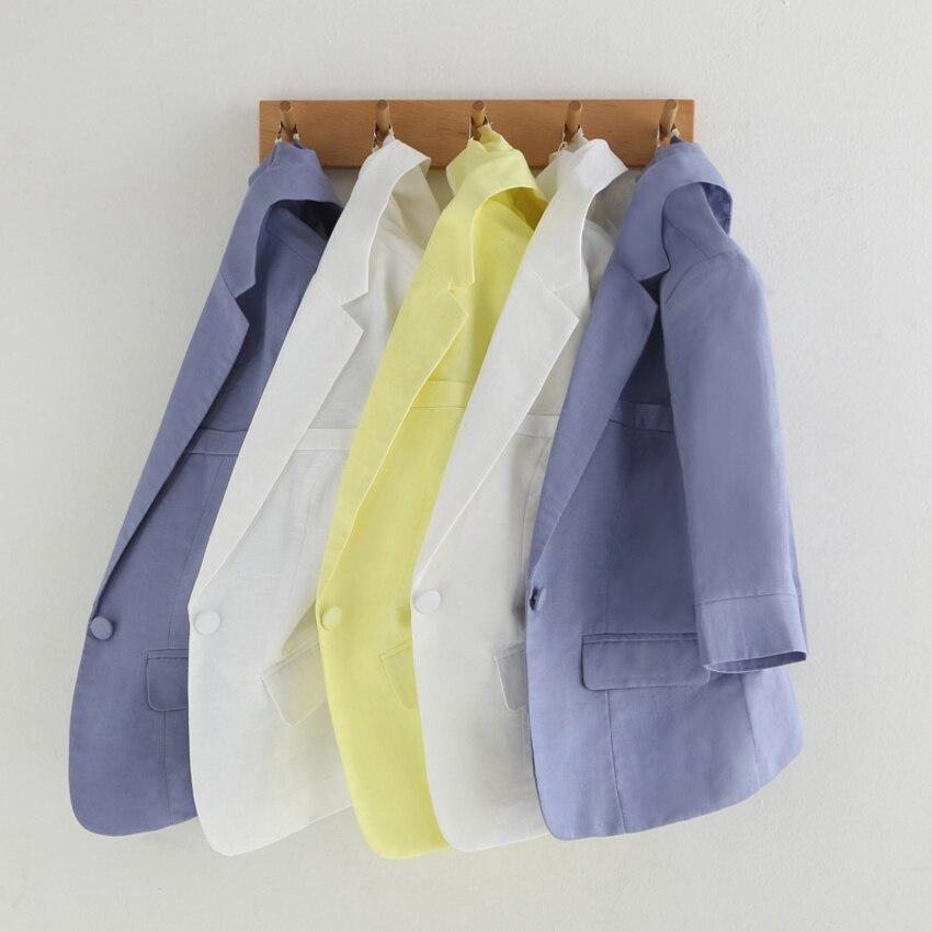 Printemps été décontracté 3/4 manches coton lin costume veste Femme féminine Blazer Femme grande taille 3XL