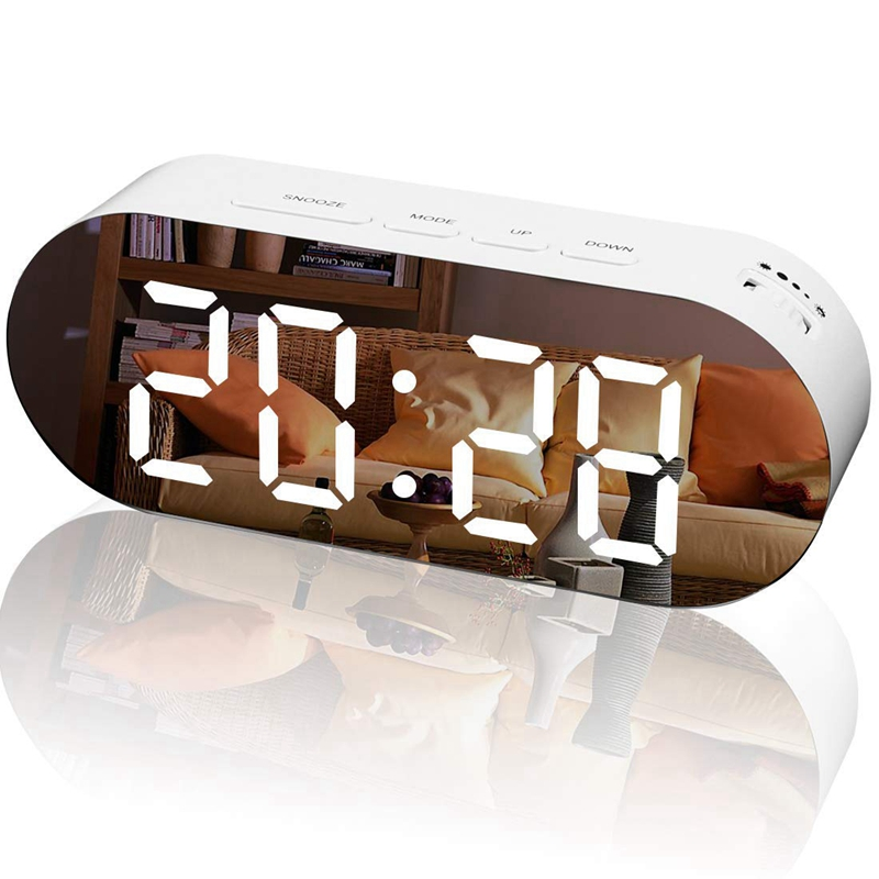 Alarm Clock Digital Mirror Surface Dimmer Large Led Display With Dual Usb Charger Ports Snooze Sleep Timer For Bedroom Decor(China)