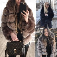 JRNNORV 2018 New Winter Coat Women Faux Fox Fur Coat Plus Size Women Stand Collar Long Sleeve Faux Fur Winter Outerwear BA0566