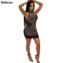 High Quality Paris Fashion Designer Dress Women's Sleeveless Rhinestone Diamonds Embellished Halter Bodycon Dresses