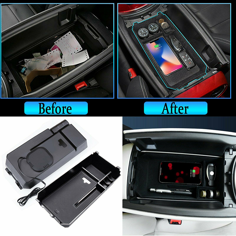 Phone QI Wireless Charging Armrest Storage Box For Mercedes-Benz E Class 16-18