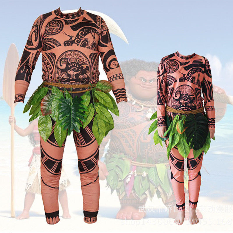 Halloween Adult Mens Kid Moana Maui Tattoo T Shirt Pants Cosplay Costume Family Matching Outfits