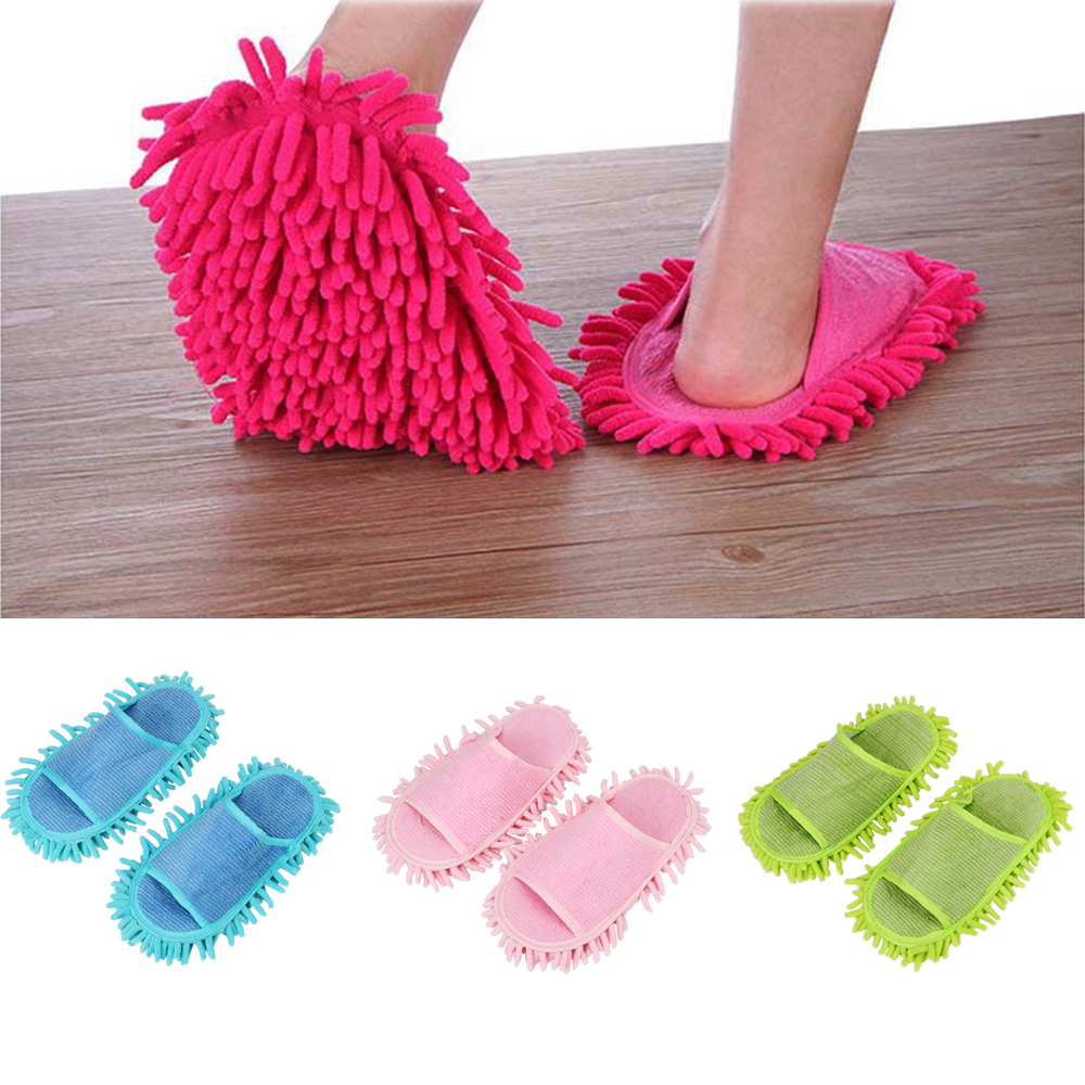 1 Pair Novelty Slippers Style Mops Cleaning Cloth Lazy Slippers House Cleaning Brush Microfiber Floor Ground Cleaning tools