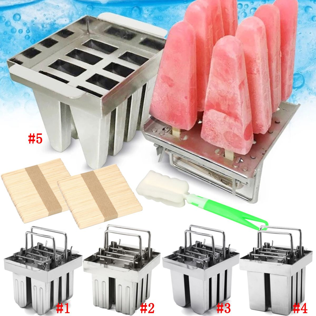 8 Molds 304 Stainless Steel DIY Ice Cream Mould Popsicle Fruit Ice Cream Make Tool Silver Ice Cream Maker Stick Holder Mould New