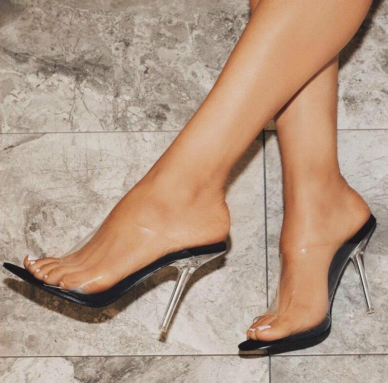 Moda Peep Toe Sandálias de Salto Alto Mulheres Limpar Transparente PVC Cristal Sandálias Deslizamento Em Sapatas de Vestido de Verão - 2