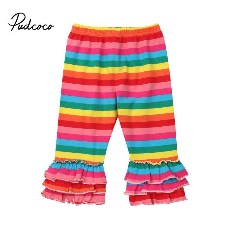 pudcoco 0-4Y Kid Baby Girl Pants Rainbow Striped Mermaid Bottom Ruffle Casual Pants Leggings Trousers