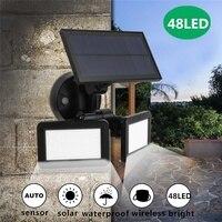 48LED Dual Head Solar Motion Sensor Spotlights 3Modes Adjustable Waterproof Solar Floodlight for Yard Garden Garage