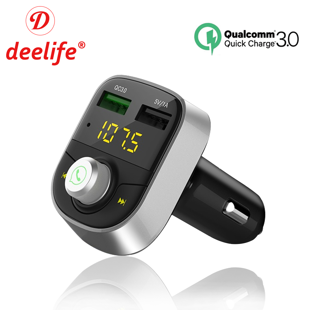 Deelife FM Transmitter Modulator Bluetooth Car Radio Handsfree Car Kit Audio MP3 Player Quick Charge 3.0 Dual USB Car Charger korseed car fm transmitter bluetooth handsfree mp3 radio player car kit fm modulator with 3 1a usb car charger for ipad phone