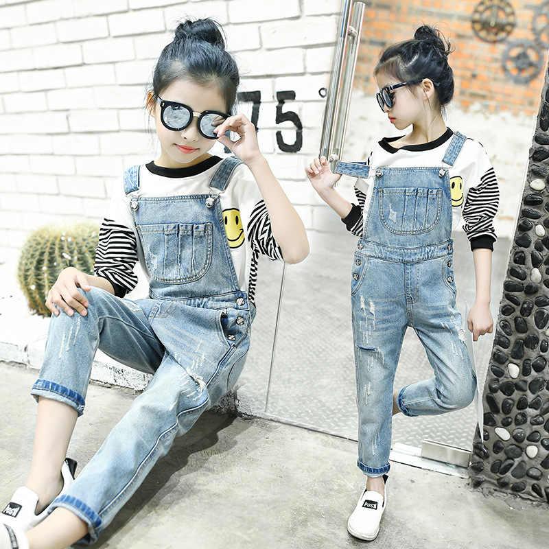 a04c18fe779c Girls Denim Overalls Child Wear 5-13t Kids Jeans Ripped Pant 2017 Spring  Autumn Children