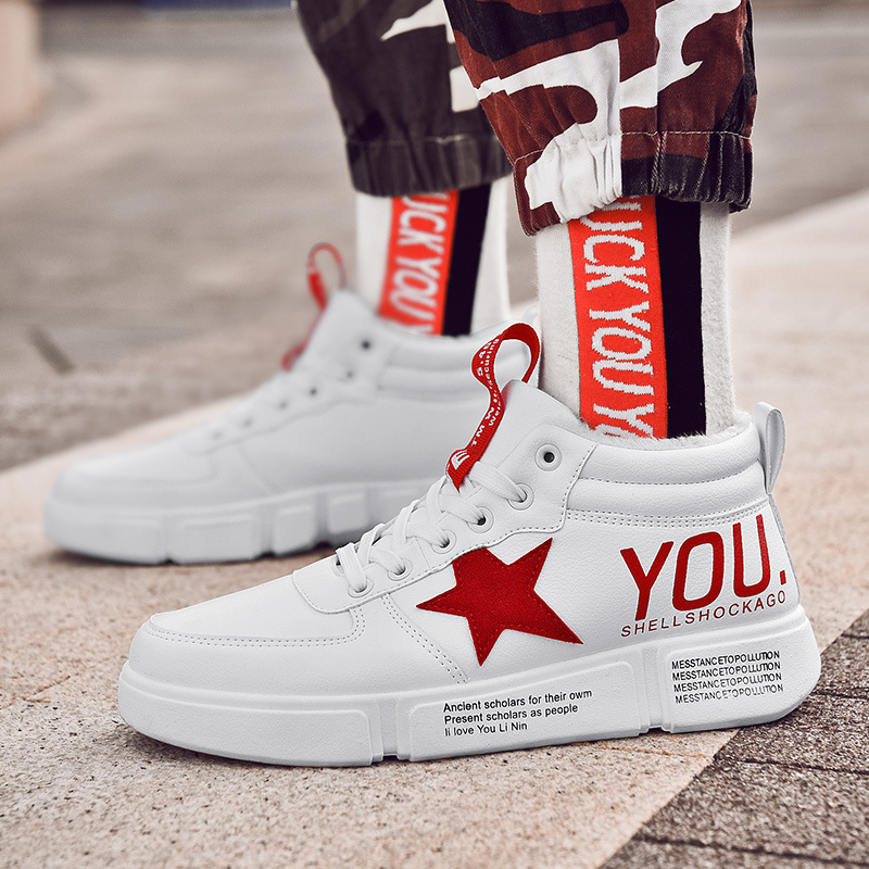 Winter Plus Velvet Men's 2019 New Style High-Top Korean-Style Shoes Versatile Movement Students Ins Sneakers A Generation Of Fat