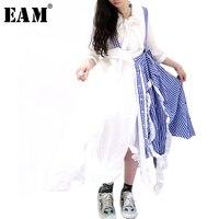 [EAM] 2019 новая весенне летняя синяя клетчатая юбка с завышенной талией и асимметричным разрезом, ремешок оборки, полубоди, женская модная юбка