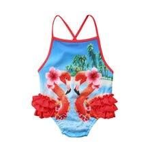 Lovely Toddler Baby Girl Swimwear Cartoon Floral Birds Swimsuit Tulle Beachwear Backless Bathing Suit New Bikini Hot Sale