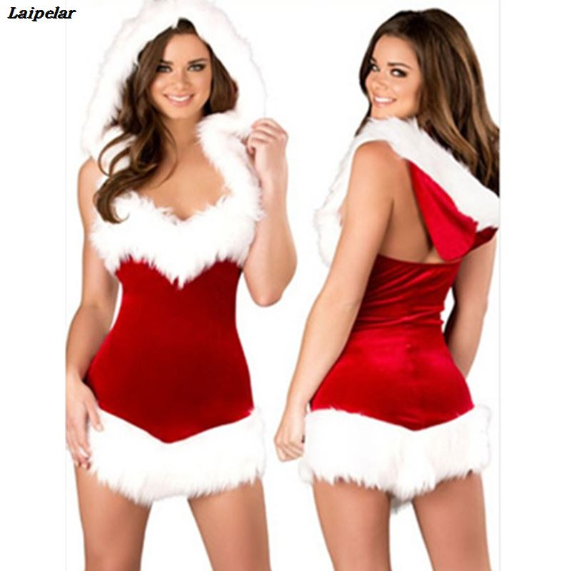 Women Nightgown Christmas Cosplay Costumes Female Red Corduroy Halloween Uniform Role Playing for Adult Santa Clause Dress Hat in Holidays Costumes from Novelty Special Use