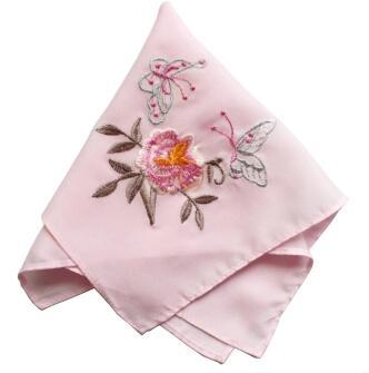 1pcs 26CM Vintage pink silk women square Handkerchief embroidered face hand towels children lace ladies hanky Wedding gift