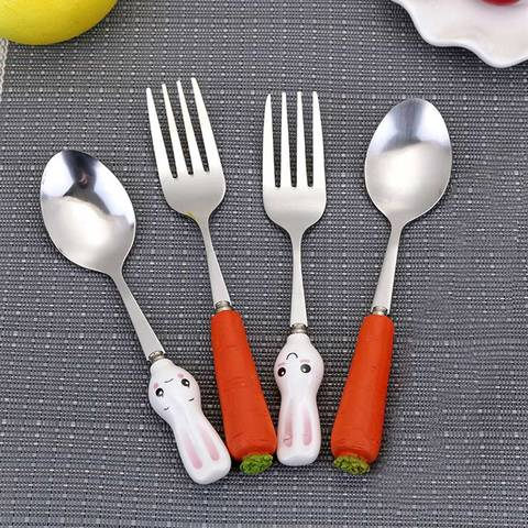Fork Ceramic Handle Cute Kitchen Gadgets Stainless Steel  Baby Kid Tableware Carrot Spoon Dining Appliance 1PC Karachi