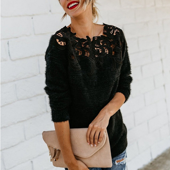 Brand New 2019 Women Lace Mohair Loose Knitted Pullover Jumper Sweater Lace Collar Long Sleeve Knitwear Top Newest jeans con blazer mujer