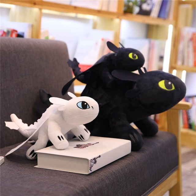 35-60 cm Desdentado How To Train Your 3 Branco Brinquedos de Pelúcia Fúria Da Noite Desdentado Luz Fúria Dragão de Pelúcia boneca de Pelúcia Macia Brinquedos Dos Miúdos