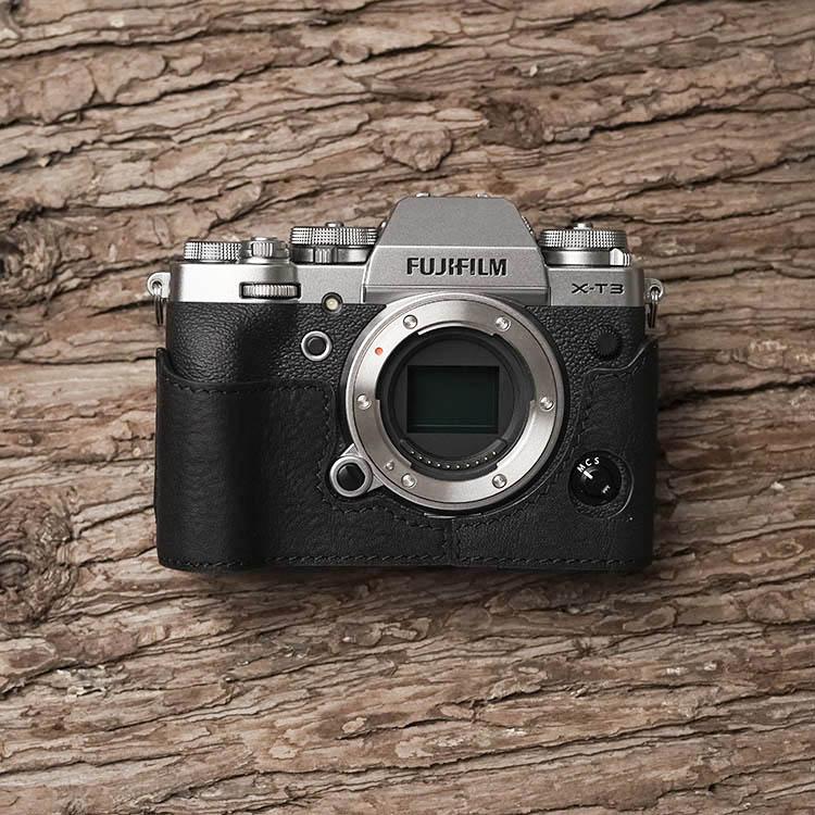 fujifilm cvr xt3 Mr.Stone Brand Handmade Genuine Leather Camera Case Bag Half Body Camera For Fujifilm XT3 FUJI X-T3