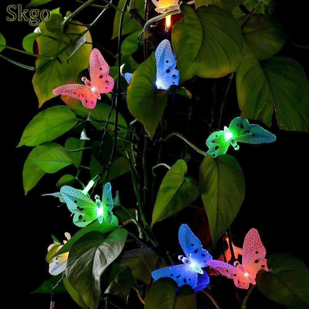 Hot 12 Led Solar Powered Butterfly Fiber Optic Fairy String Waterproof Christmas Outdoor Garden Holiday LightsHot 12 Led Solar Powered Butterfly Fiber Optic Fairy String Waterproof Christmas Outdoor Garden Holiday Lights
