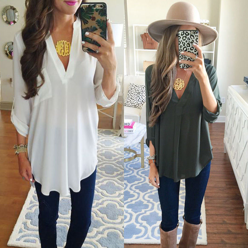 Maternity V-neck Chiffon Blouse Summer Fashion Pregnancy Clothing White Shirts Loose Tops Solid Color Clothes For Pregnant Women