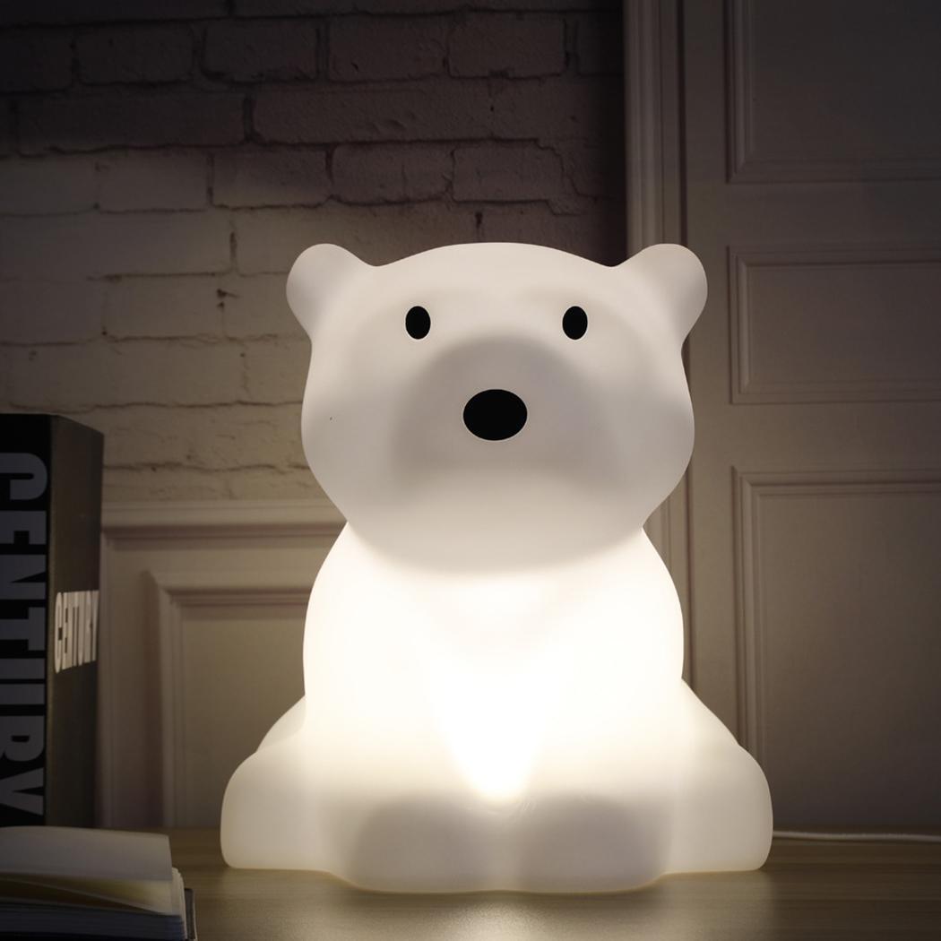 Bambini Luce di Notte del LED Dimmable Del Fumetto Dei Capretti 100 240 V luce Bianca Orso Polare Forma 5 W Lampada Decorativa - 2