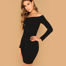 US Women Long Sleeve off shoulder Evening Party Dress 2018 Autumn Winter Female sexy Bodycon new year party Dresses