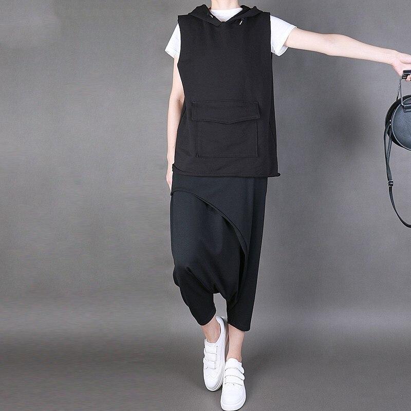 Las Primavera Verano Plisada Black 2019 Marea Falso Dos Negro L766 La Sueltos Punto Alta Nueva De Elástico Mujeres Moda Pantalones Cintura 566vRqEn