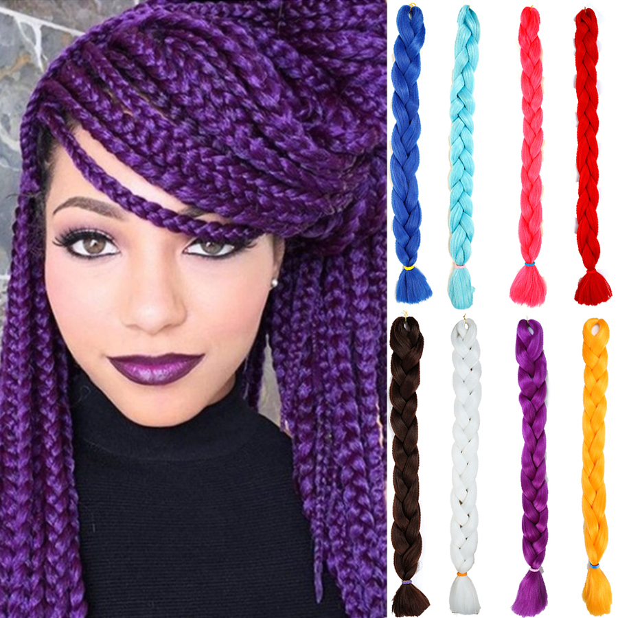 MUMUPI fashion 82inch 165g/pack Jumbo Braid Hair Crotchet Braids Pure Color Hair Expression Braiding Hair   headwear