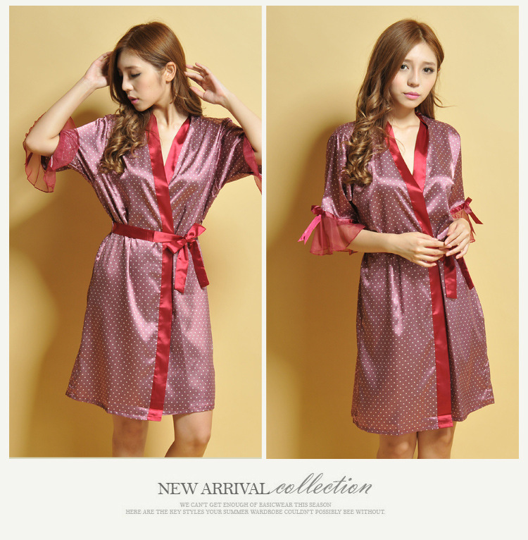 Summer kimono Dress Silk Robe Women's Pajamas Sexy Bathrobe Dressing Gowns For Women lotus sleeves Bathrobes