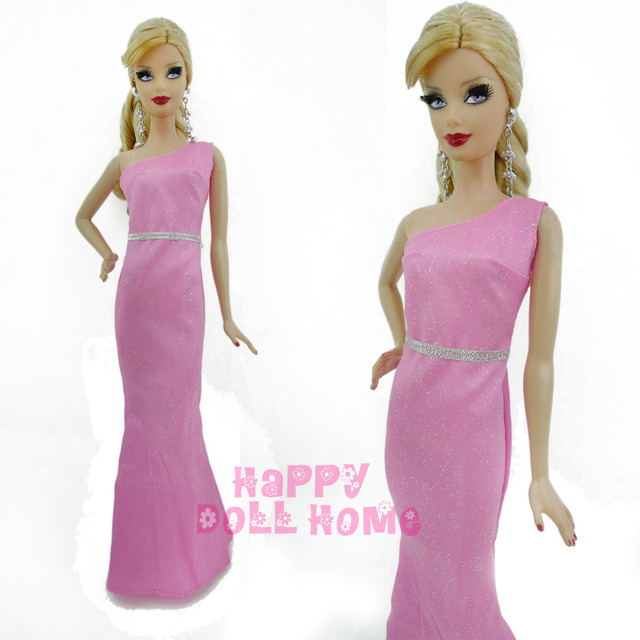 01a1e3d36624 The Evening Party Long Dress One Shoulder Gown Princess Clothes Accessories  For Barbie Doll 11.5
