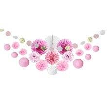 цена на Pink Party Decoration Kit Circle Garland Polka Dots Paper Fans Lanterns Pom Poms for Wedding Princess Birthday Party Showers