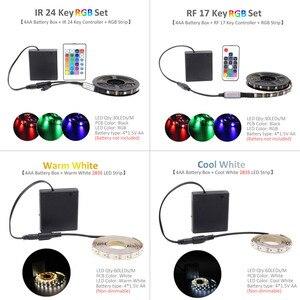 Image 5 - LED Strip Battery Powered 5050 RGB 2835 Warm Cool White 1M 2M 3M 4M 5M 5V 6V Battery Operated LED Tape Ribbon Lights Waterproof