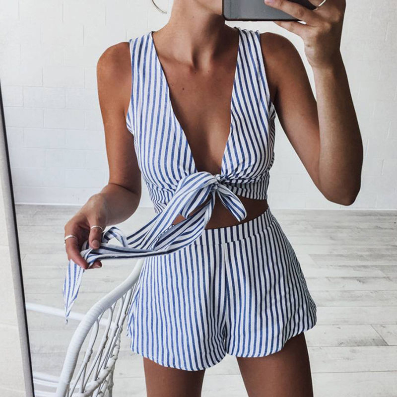 2Pcs Set For Woman Womens Summer Sexy Crop Tops+ Striped Shorts Ladies Sexy Playsuits Tunic Co-ord Set Fashion Beach Overall Set