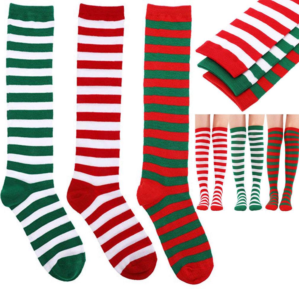 Vogue New Women Christmas Striped Stockings Red White Stripe Over Knee High Socks Stockings Girls Lady Stockings