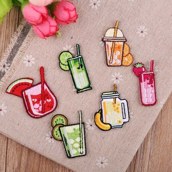 PGY Fruit beverage Food lemonade Patches Embroidery Iron on Patches for Clothing DIY Foods Stripes Clothes Stickers Appliques image