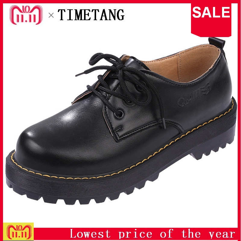 TIMETANG British Style Women Oxfords New Spring Winter Lace-Up Flats Round Toe Creepers Casual Ladies Platform Shoes Woman beffery 2018 spring patent leather shoes women flats round toe casual shoes vintage british style flats platform shoes for women