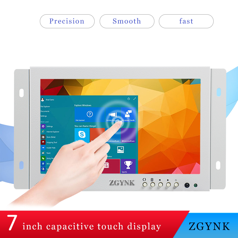 7 inch white embedded HD capacitive touch screen open computer cabinet touch display LED LCD screen
