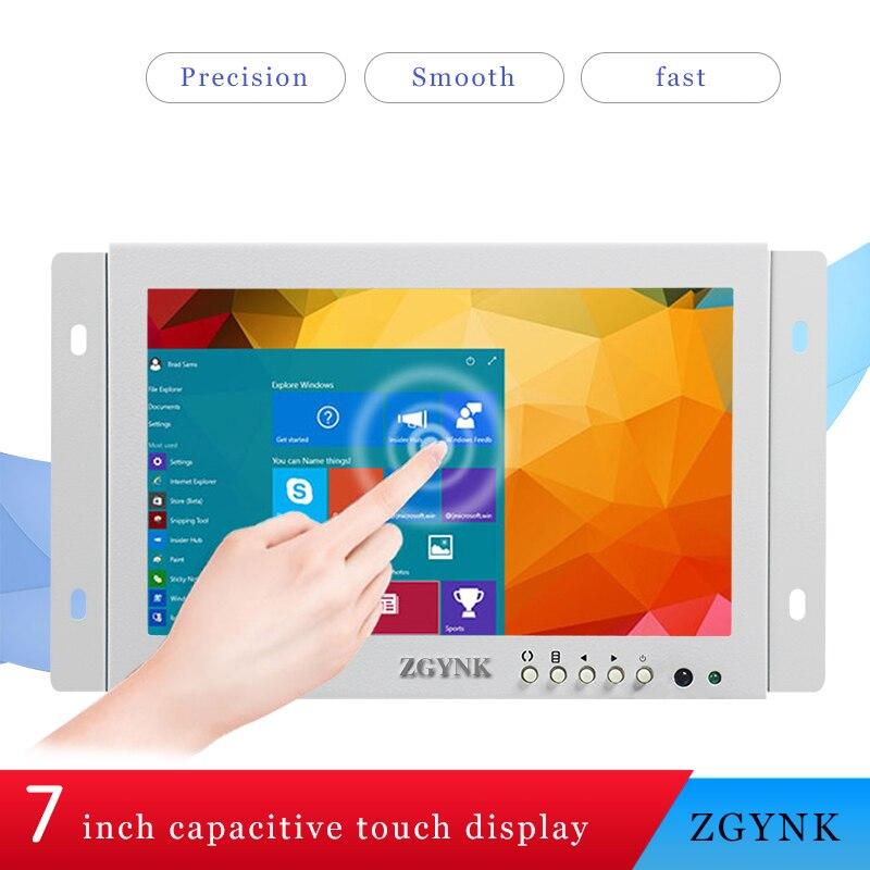 7 pouces blanc intégré HD écran tactile capacitif ouvert ordinateur armoire tactile affichage LED écran LCD