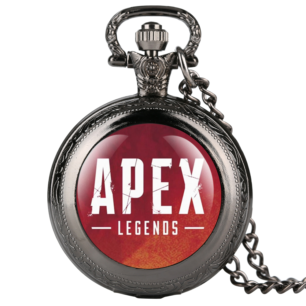 APEX Theme Quartz Pocket Watch Retro Black Case Patch Pocket Watch For Boy Arabic Digital Gift For Pocket Watch With Necklace